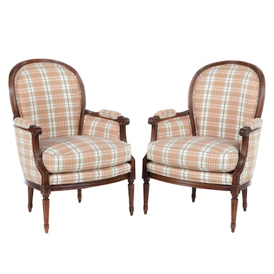 Pair of Hickory White Louis XVI Style Upholstered Armchairs, Late 20th Century