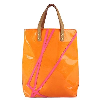 Louis Vuitton X Robert Wilson Reade MM Tote in Fluo Orange Monogram Vernis