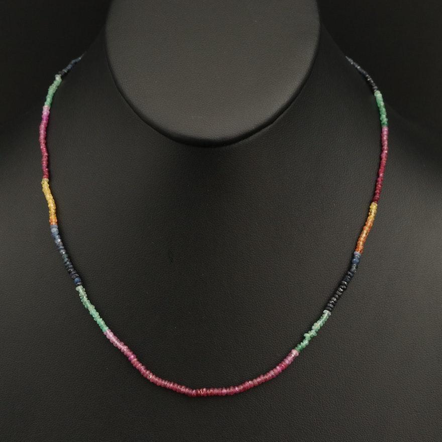 Sapphire, Corundum and Emerald Beaded Necklace