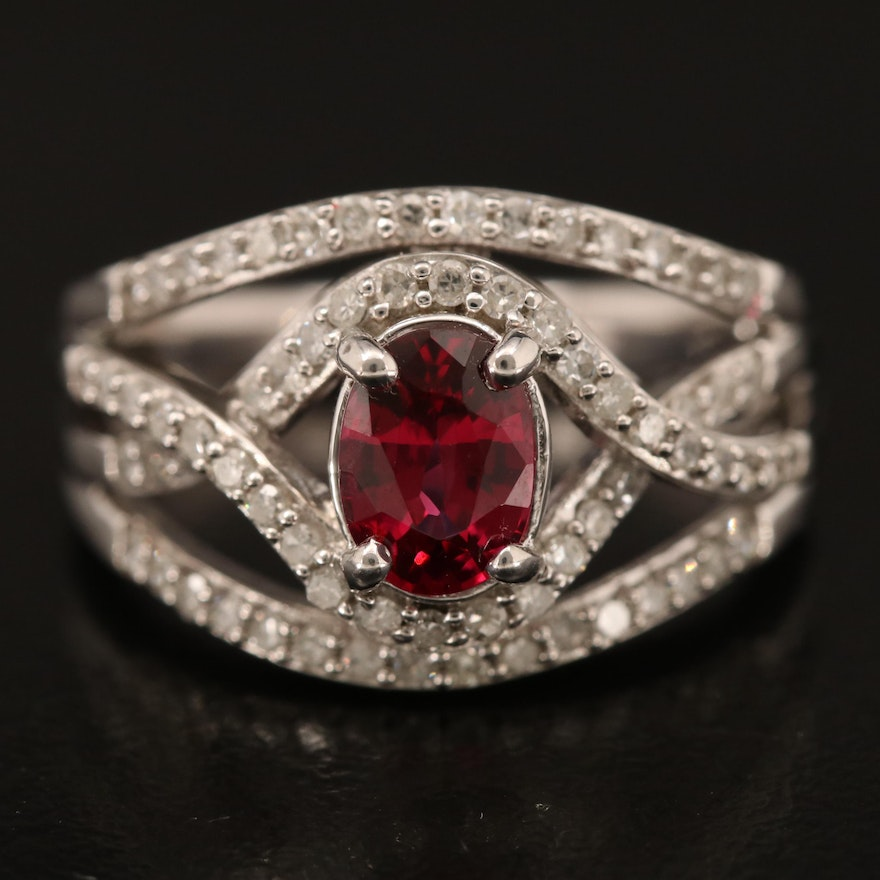 Sterling Spinel and Diamond Openwork Ring