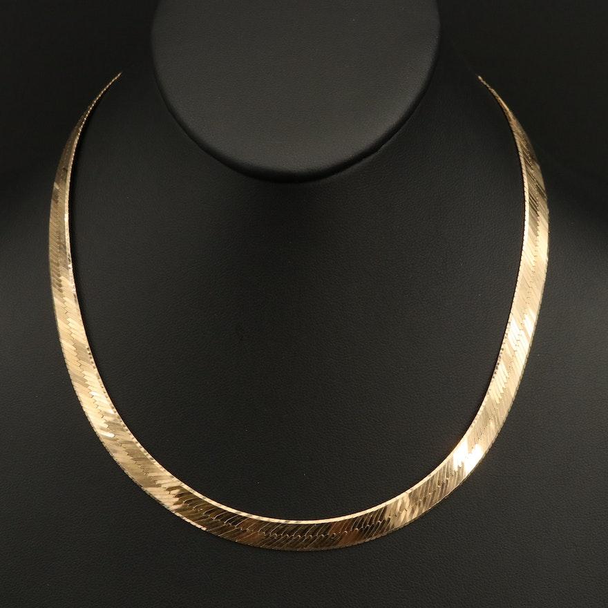 Italian Herringbone Chain Necklace in 14K