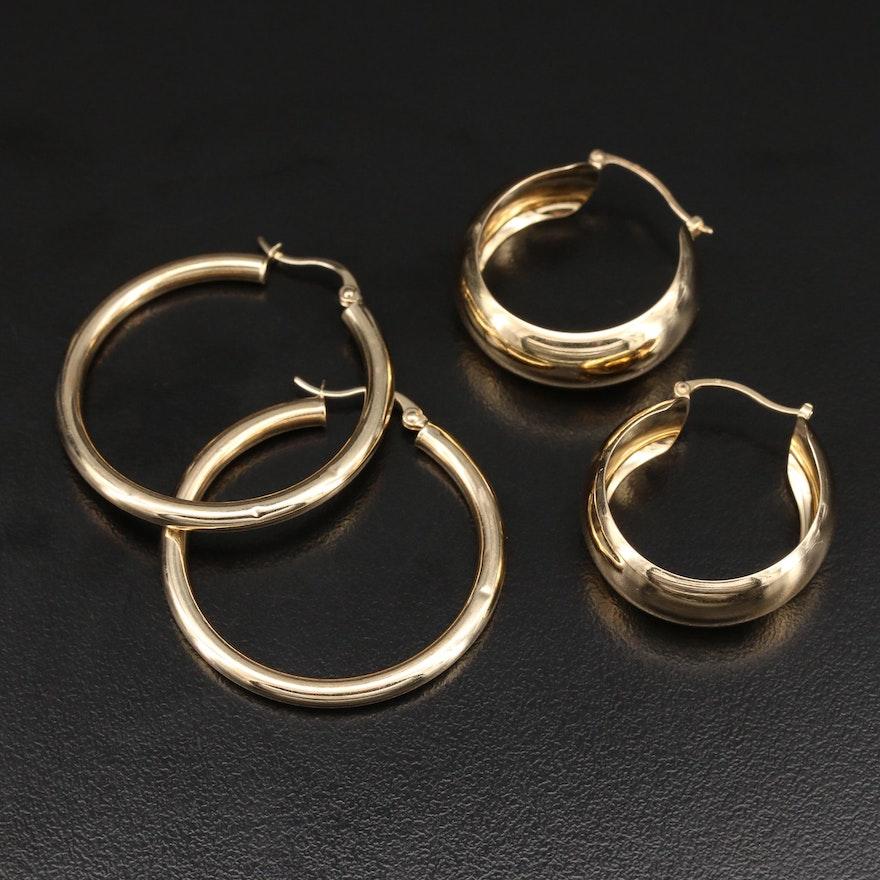 14K Flat and Tube Hoop Earrings