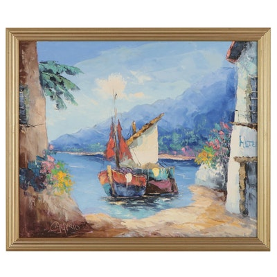 Giovanni Camprio Maritime Oil Painting, Mid to Late 20th Century
