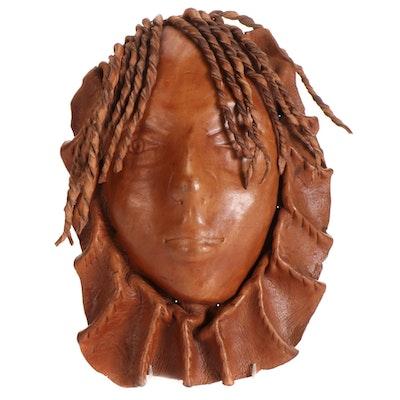 Molded Leather Decorative Mask, Circa 2000