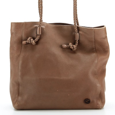 Gucci Brown Grained Leather Tote Bag