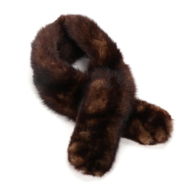Sable Fur Detachable Collar With Velveteen Lining