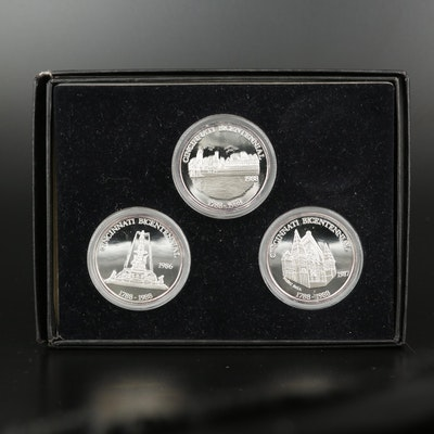 Three Cincinnati Bicentennial .999 Fine Silver One Ounce Rounds