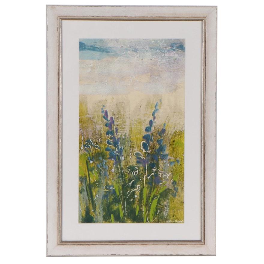 Ursula J. Brenner Floral Still Life Acrylic Painting, 21st Century