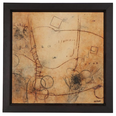 Ursula J. Brenner Abstract Encaustic Painting, 21st Century