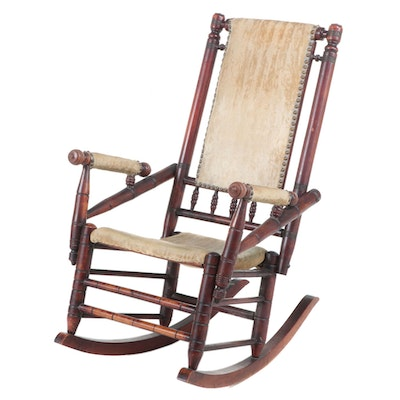 American Aesthetic Movement Mahogany-Stained Maple Rocker, Late 19th Century