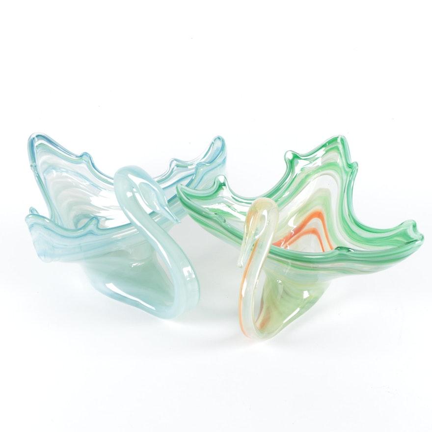 Handblown Art Glass Swan Bowls
