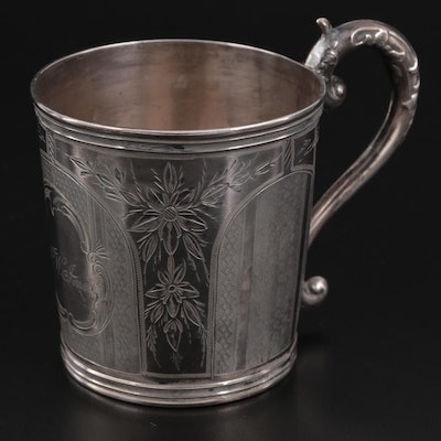American Chased Coin Silver Handled Cup, Mid-19th Century