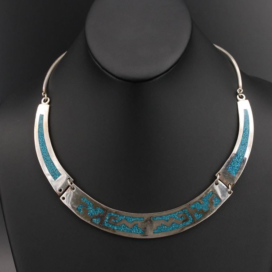 Mexican Sterling Turquoise Inlay Necklace