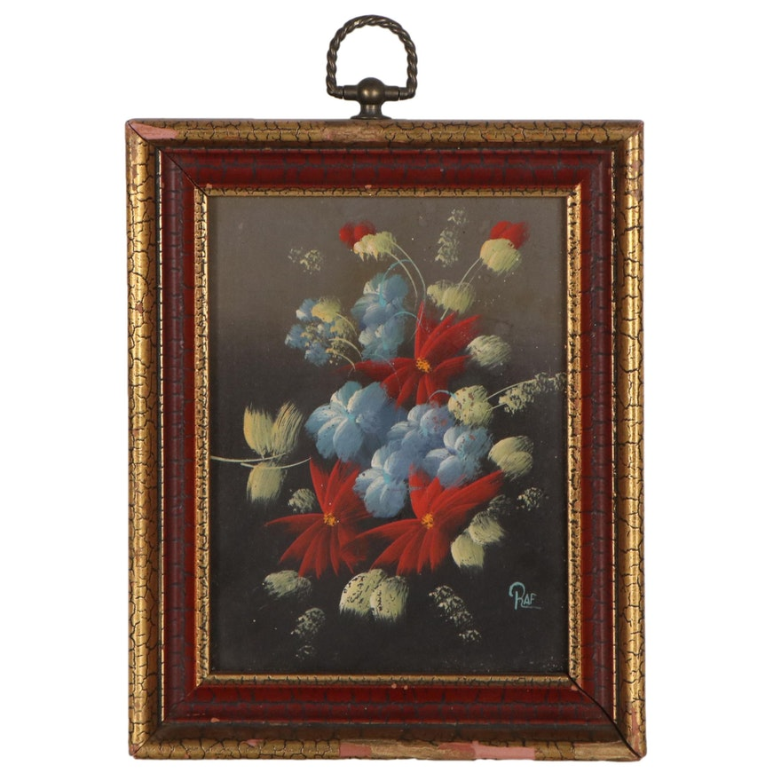 Oil Painting of Flowers, Late 20th Century