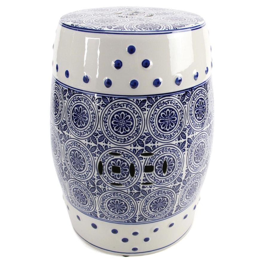 Asian Style Blue and White Ceramic Garden Stool