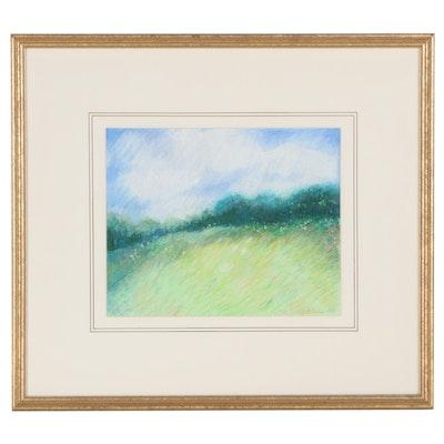 Ursula J. Brenner Landscape Pastel Drawing, 1988