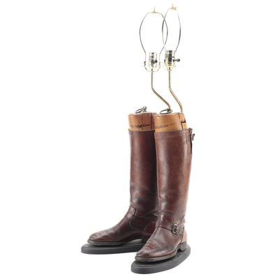 Pair of Equestrian Leather Riding Boot Form Mounted Table Lamps
