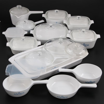 """Corning """"Cornflower Blue"""" Casserole Dishes and Pans and Other Corning Bakeware"""