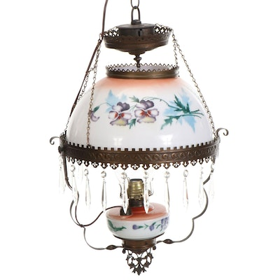 Victorian Style Hand-Painted Glass and Metal Pendant Lamp, 20th Century