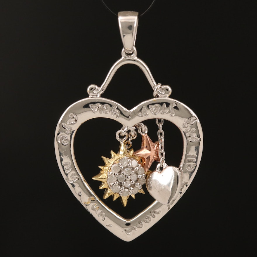 """Sterling """"You Are My Sun, Moon, and All My Stars"""" Heart Pendant"""