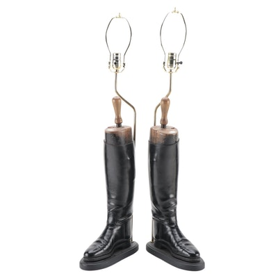 Pair of Equestrian Leather Riding Boot Mounted Table Lamps