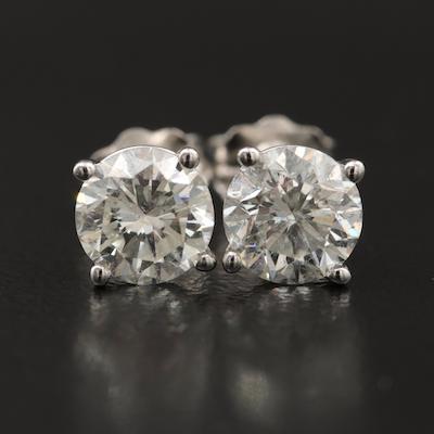 14K 1.35 CTW Diamond Stud Earrings with GIA eReports
