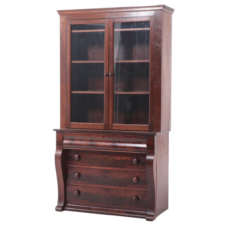 American Empire Mahogany Chest Married with Walnut Bookcase