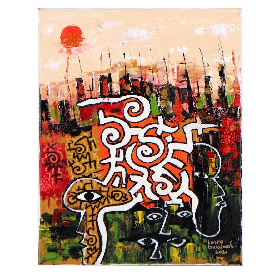 "Lanre Buraimoh Acrylic Painting ""Quiet City,"" 2021"