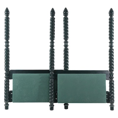 Green-Painted Four Poster Twin Bed Headboard and Footboard