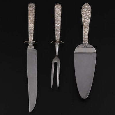 G. H. French & Co. Sterling Handled Floral Motif Carving Set and Pie Server