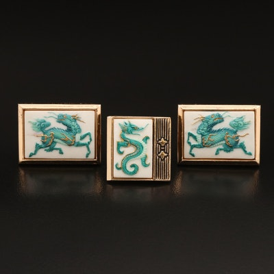 Japanese Toshikane Porcelain Pin and Cufflink Set