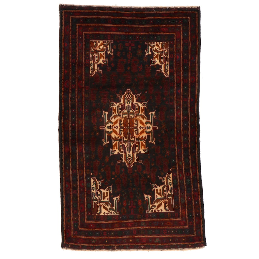 4'1 x 6'11 Hand-Knotted Afghan Area Rug