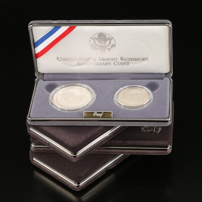 Four 2-Coin Commemorative Proof Sets Including Silver Dollars