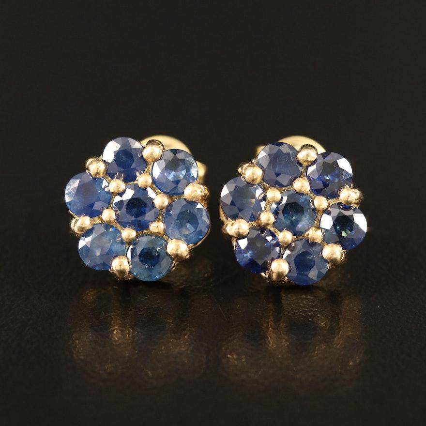 Sterling Sapphire Cluster Stud Earrings