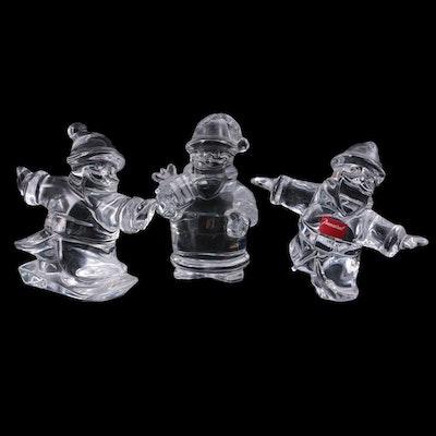 """Baccarat """"Noel"""" Crystal Santa Claus Figurines"""