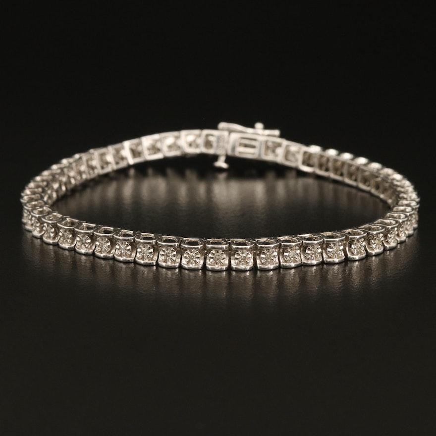Sterling Silver Illusion Set Diamond Line Bracelet