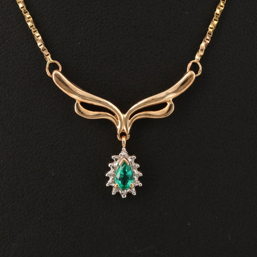 10K Emerald and Diamond Pendant with 14K Box Chain