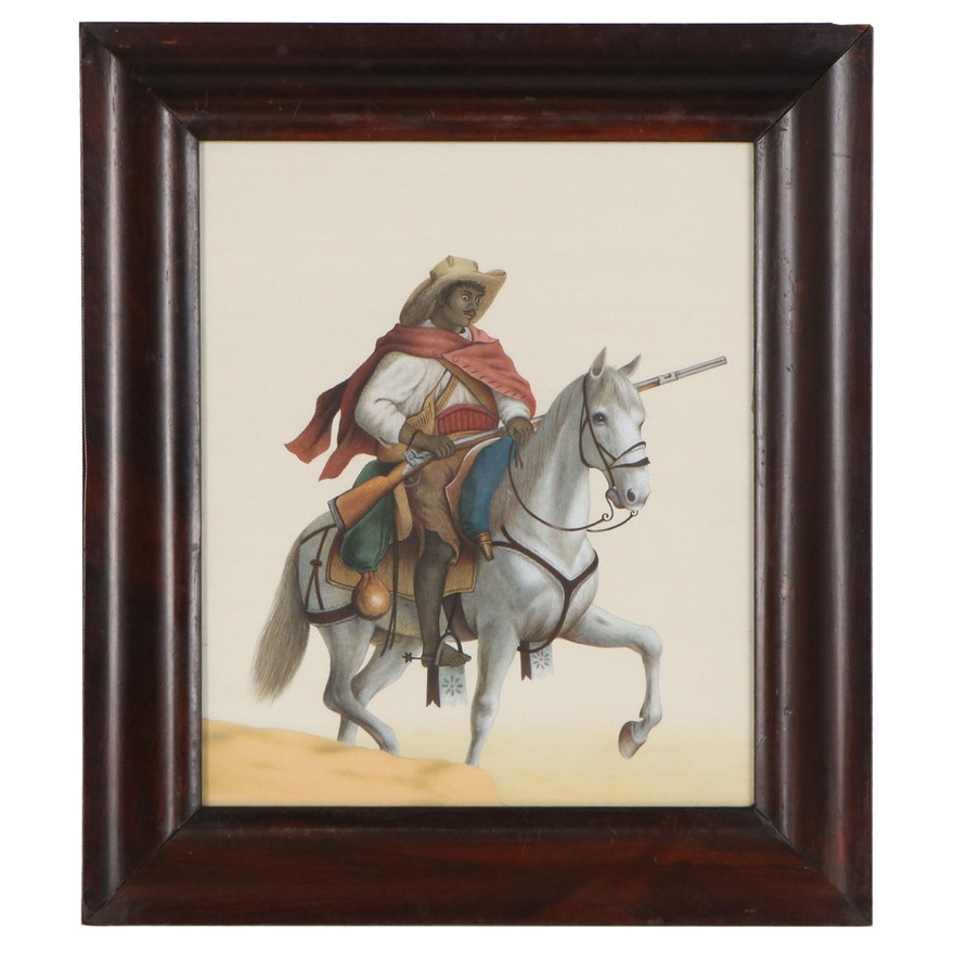Equestrian Gouache Painting