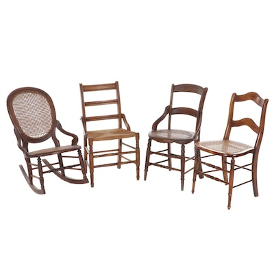 Four Victorian Walnut Chairs with Woven Seats