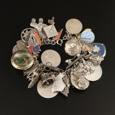 Vintage Sterling Charm Bracelet with Seahorse and State Charms