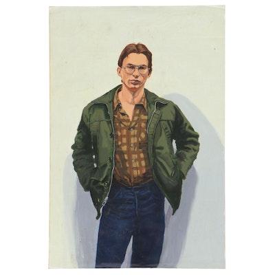 Joseph Daniel Fiedler Male Portrait Acrylic Painting, Circa 1983