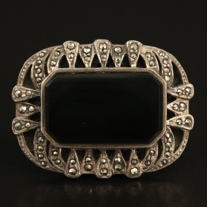 Vintage Sterling Silver Black Onyx and Marcasite Brooch