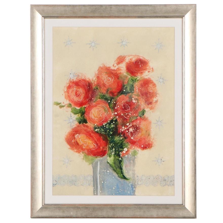 Ursula J. Brenner Floral Still Life Mixed Media Painting