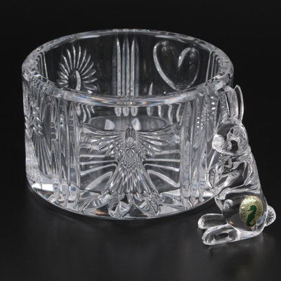 "Waterford Crystal ""Millennium Series"" Bottle Coaster with Rabbit Figurine"