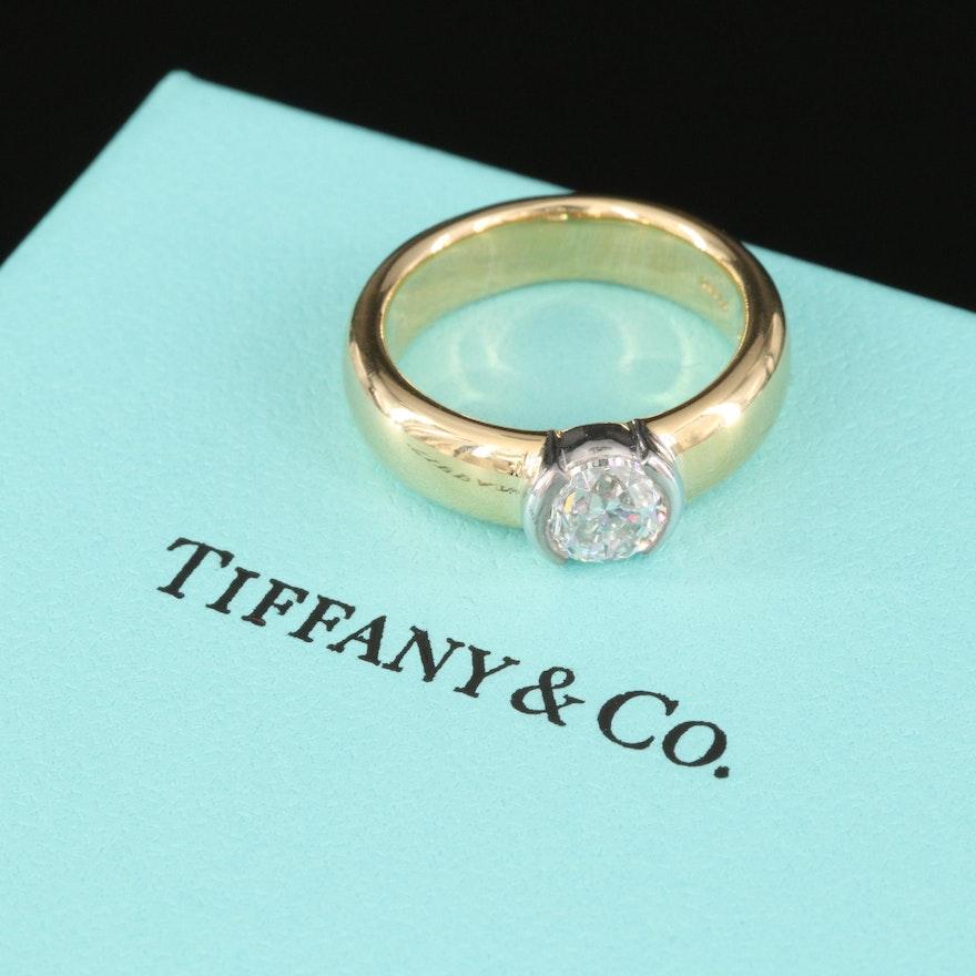 Tiffany & Co. Ètoile Collection, 18K Bezel Set 1.02 CT Diamond Solitaire Band