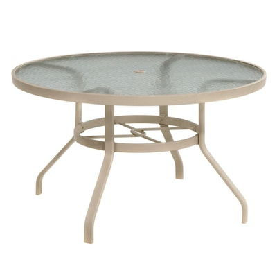 Glass Top Aluminum Patio Dining Table