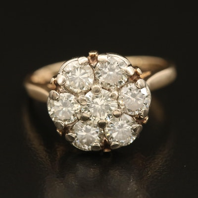 Vintage 14K 1.62 CTW Diamond Cluster Ring