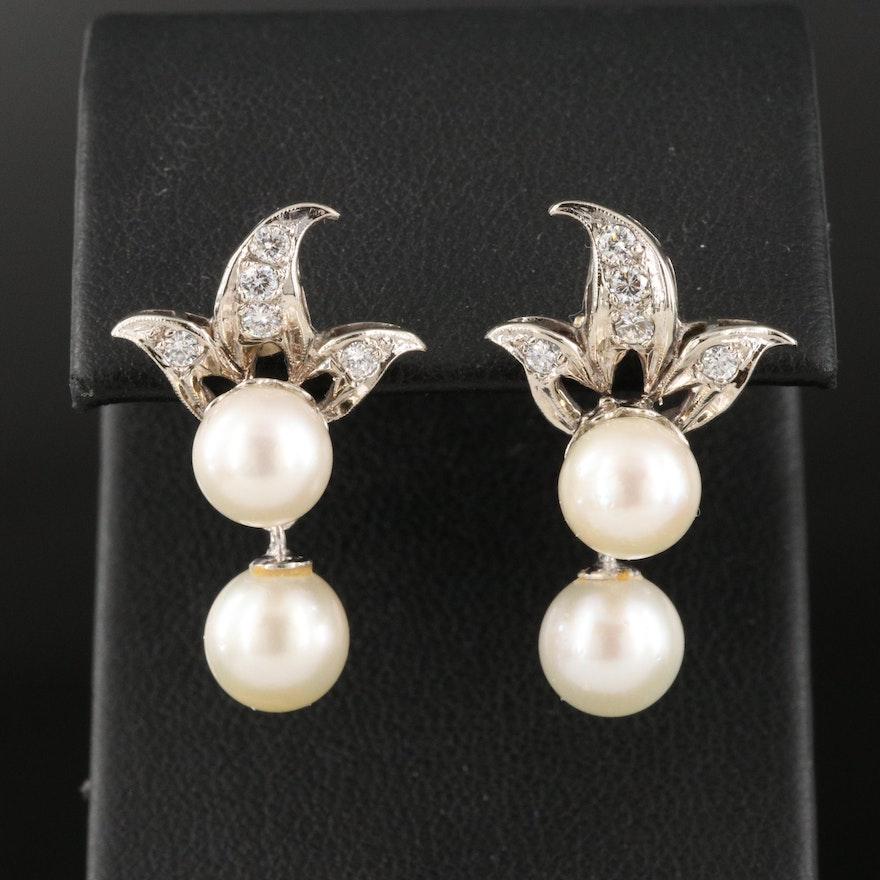 1950s 14K Pearl and Diamond Drop Earrings