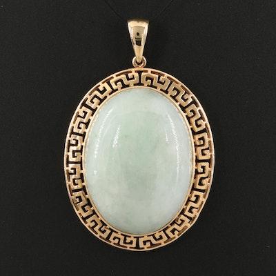 Sanuk Jewelry Corp. 14K Jadeite Pendant with Greek Key Frame and Dragon