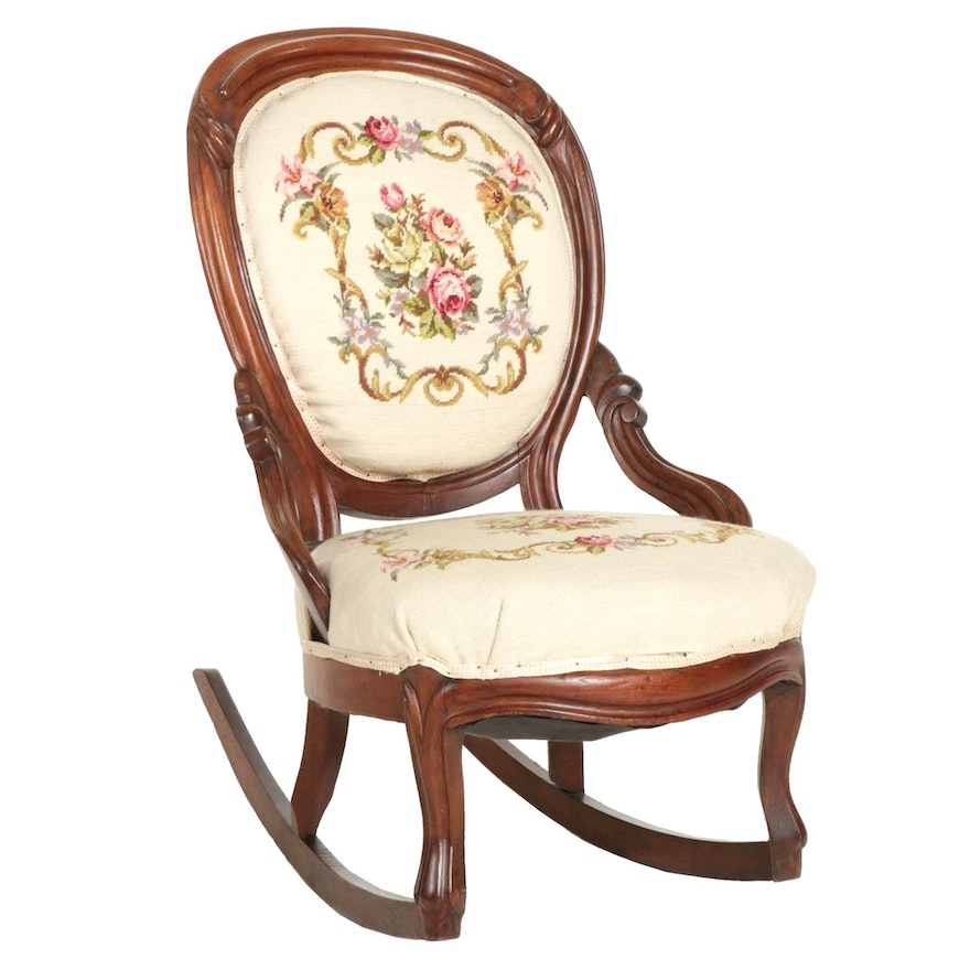 Victorian Walnut Rocking Chair with Needlepoint Upholstery, Early 20th Century
